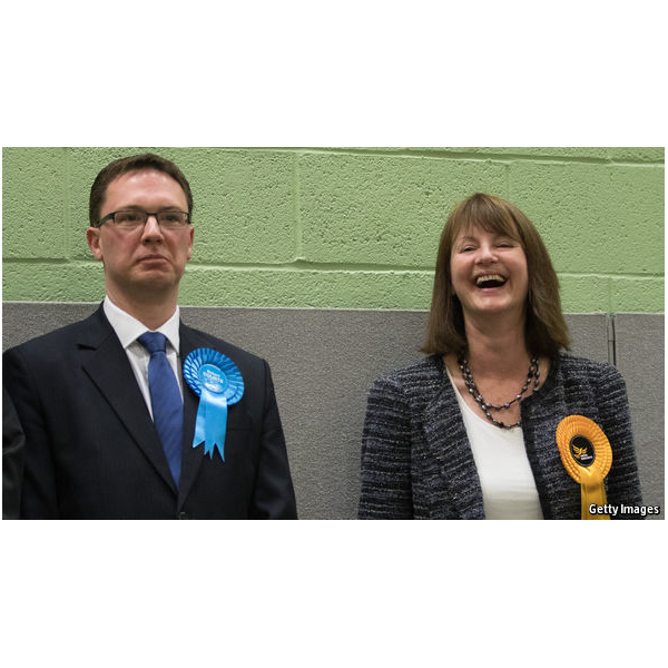 Liz Leffman at the count in Witney, with the Conservative, elected on a greatly reduced majority