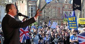 Tim Farron addresses pro-EU rally